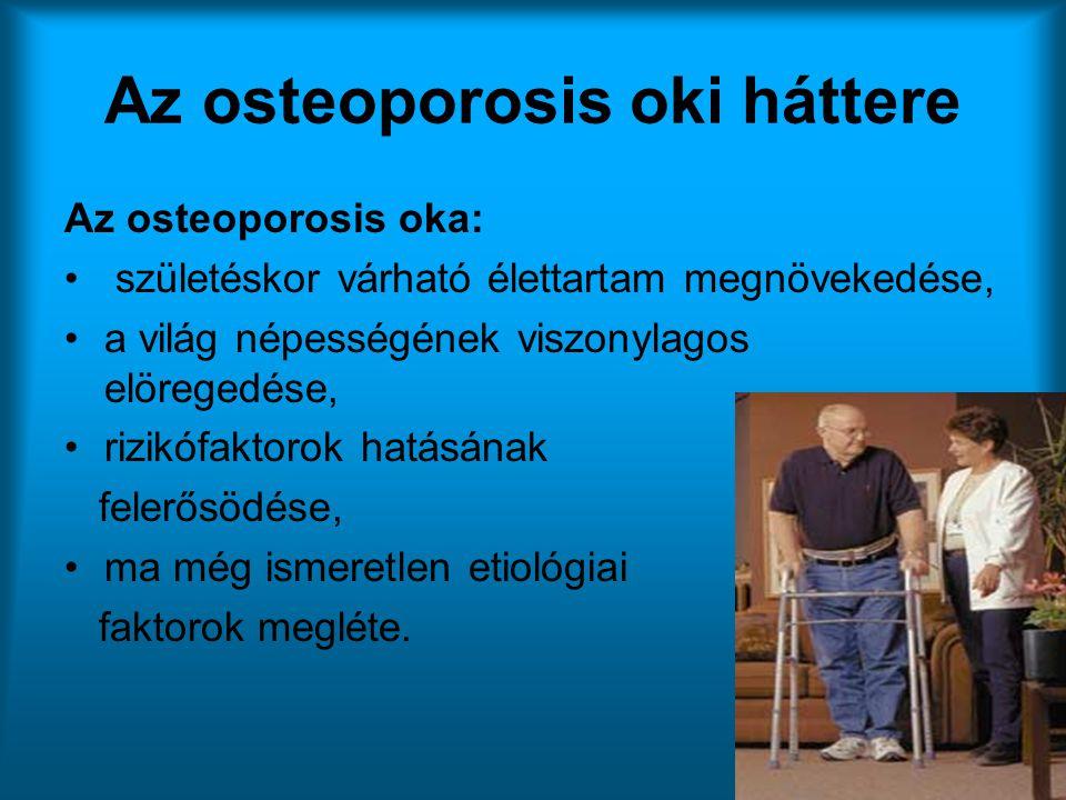 Az osteoporosis oki háttere Az osteoporosis oka: • születéskor várható élettartam megnövekedése, •a világ népességének viszonylagos elöregedése, •rizi