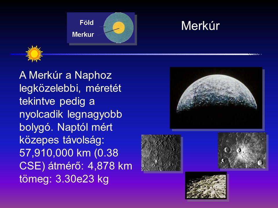 Merkúr A Merkúr a Naphoz legközelebbi, méretét tekintve pedig a nyolcadik legnagyobb bolygó. Naptól mért közepes távolság: 57,910,000 km (0.38 CSE) át