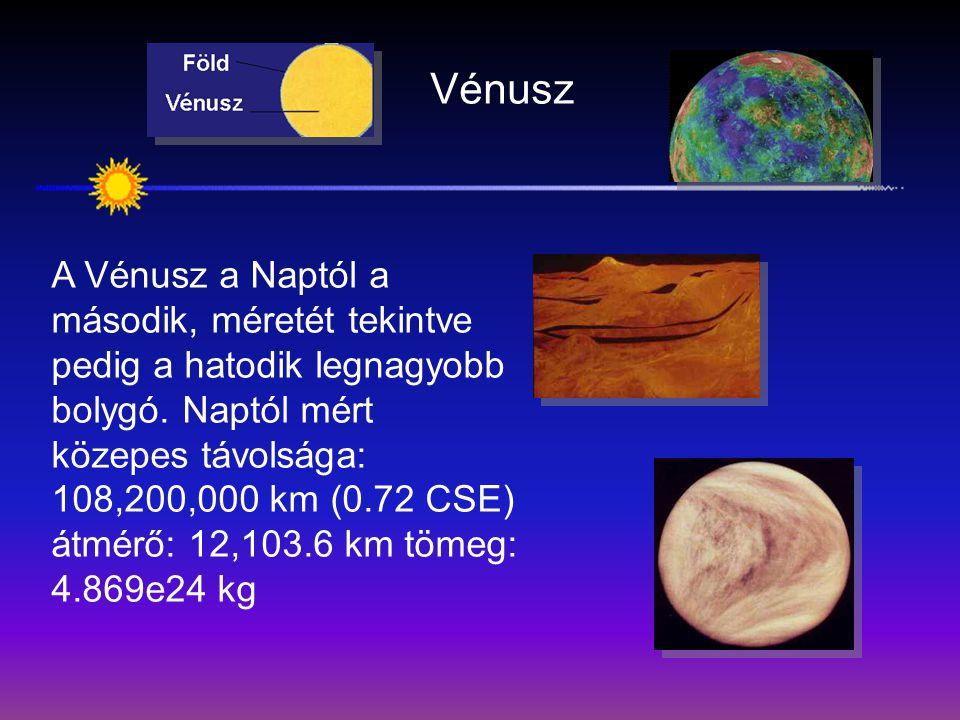 Vénusz A Vénusz a Naptól a második, méretét tekintve pedig a hatodik legnagyobb bolygó. Naptól mért közepes távolsága: 108,200,000 km (0.72 CSE) átmér