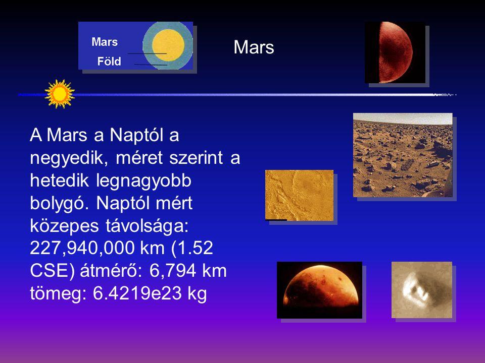 Mars A Mars a Naptól a negyedik, méret szerint a hetedik legnagyobb bolygó. Naptól mért közepes távolsága: 227,940,000 km (1.52 CSE) átmérő: 6,794 km