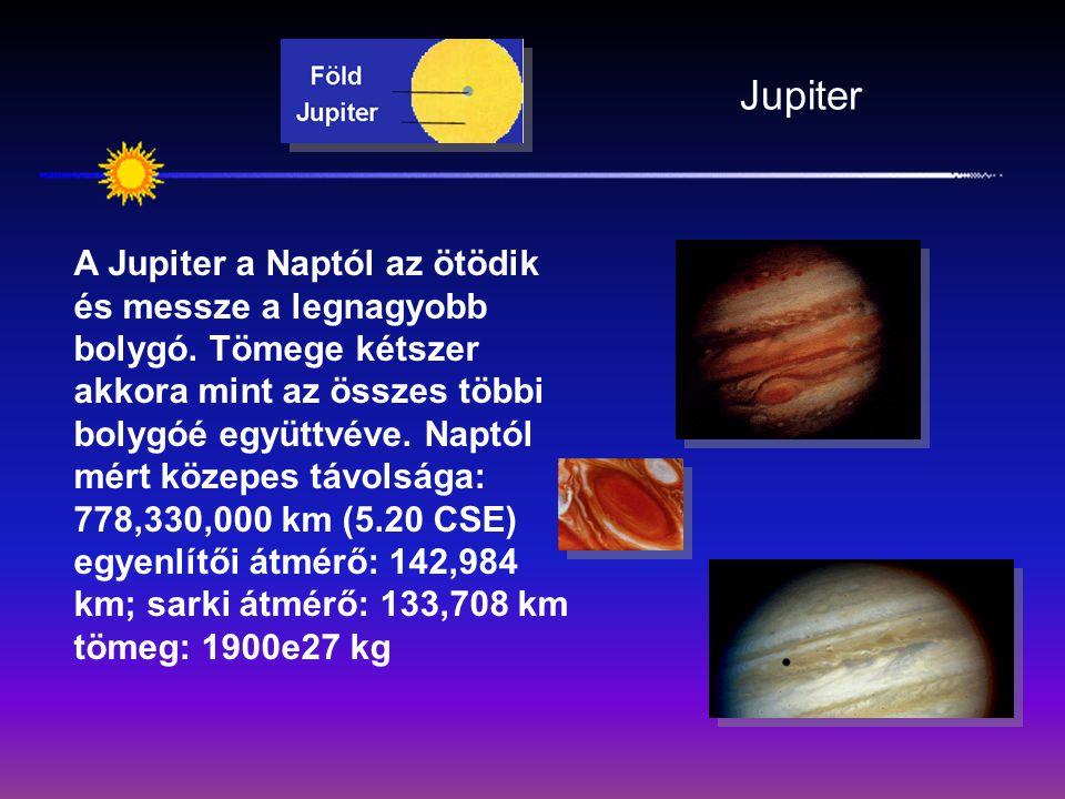 Jupiter A Jupiter a Naptól az ötödik és messze a legnagyobb bolygó. Tömege kétszer akkora mint az összes többi bolygóé együttvéve. Naptól mért közepes