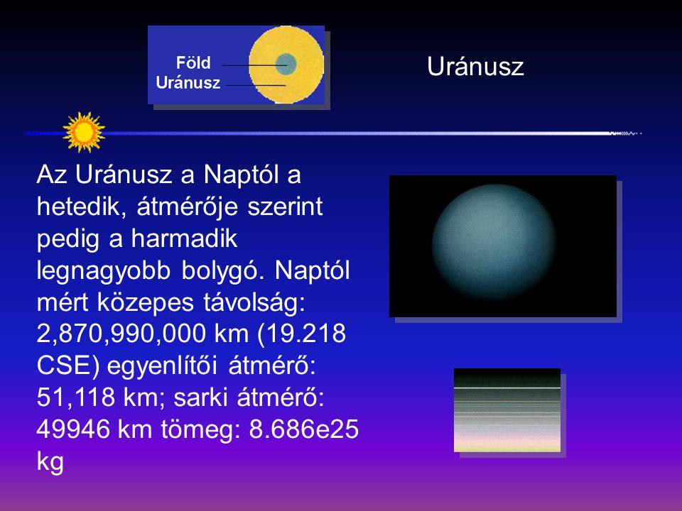 Uránusz Az Uránusz a Naptól a hetedik, átmérője szerint pedig a harmadik legnagyobb bolygó. Naptól mért közepes távolság: 2,870,990,000 km (19.218 CSE
