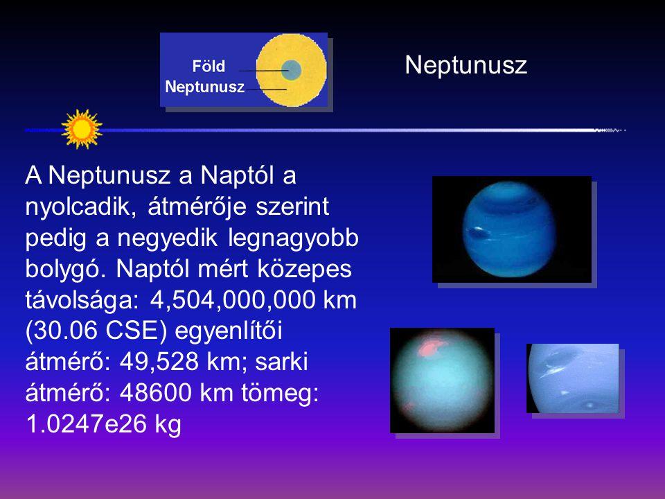 Neptunusz A Neptunusz a Naptól a nyolcadik, átmérője szerint pedig a negyedik legnagyobb bolygó. Naptól mért közepes távolsága: 4,504,000,000 km (30.0