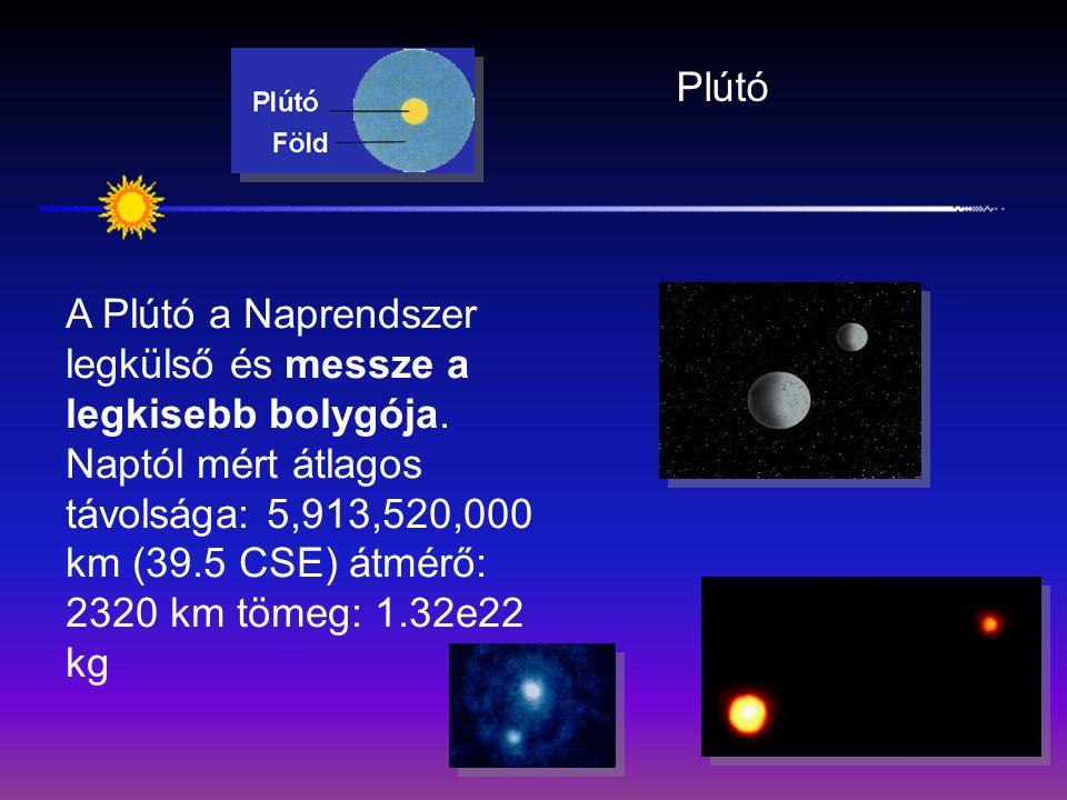 Plútó A Plútó a Naprendszer legkülső és messze a legkisebb bolygója. Naptól mért átlagos távolsága: 5,913,520,000 km (39.5 CSE) átmérő: 2320 km tömeg: