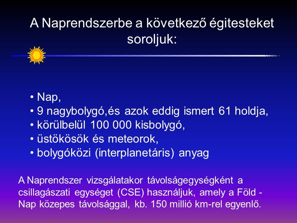 A Nap körül kilenc nagybolygó kering, Naptól mért távolságuk sorrendjében: Merkúr, Vénusz, Föld, Mars, Jupiter, Szaturnusz, Uránusz, Neptunusz, Plútó.