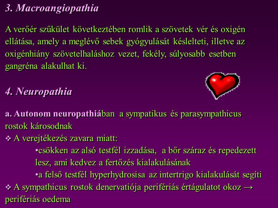3. Macroangiopathia A verőér szűkület következtében romlik a szövetek vér és oxigén ellátása, amely a meglévő sebek gyógyulását késlelteti, illetve az