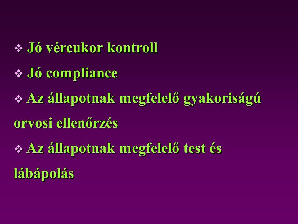  Jó vércukor kontroll  Jó compliance  Az állapotnak megfelelő gyakoriságú orvosi ellenőrzés  Az állapotnak megfelelő test és lábápolás  Jó vércuk