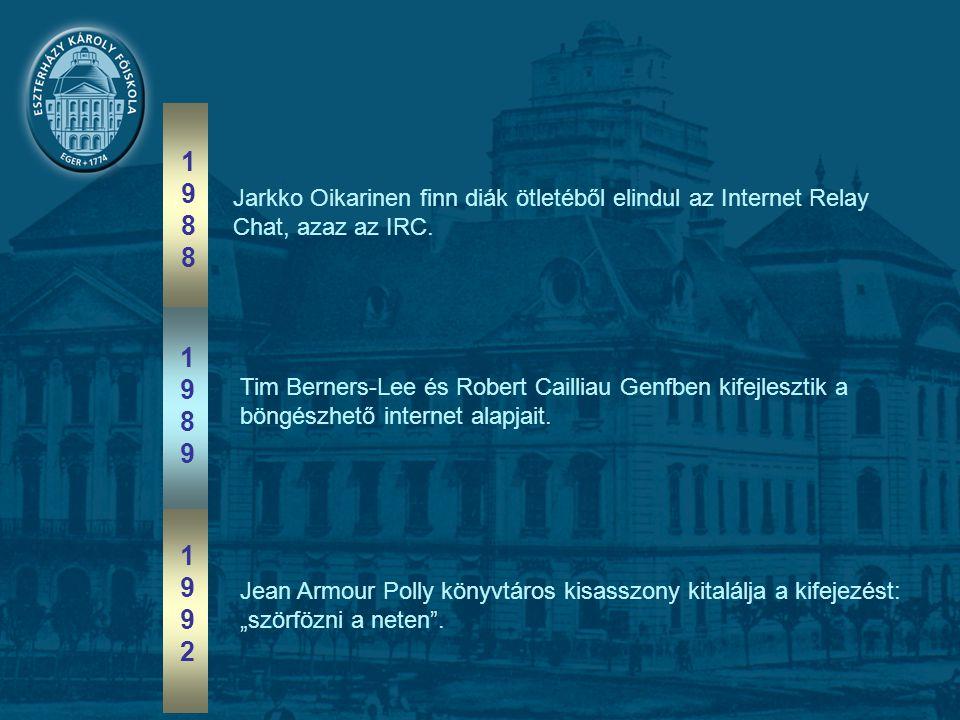 19881988 19891989 19921992 Jarkko Oikarinen finn diák ötletéből elindul az Internet Relay Chat, azaz az IRC.