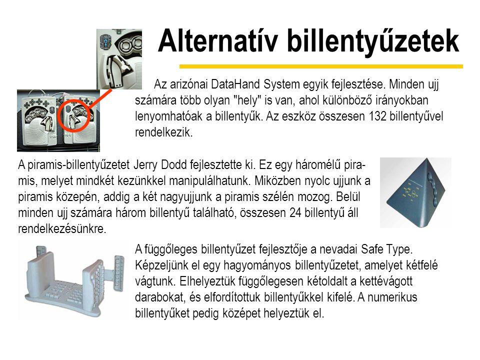 Alternatív billentyűzetek Az arizónai DataHand System egyik fejlesztése. Minden ujj számára több olyan