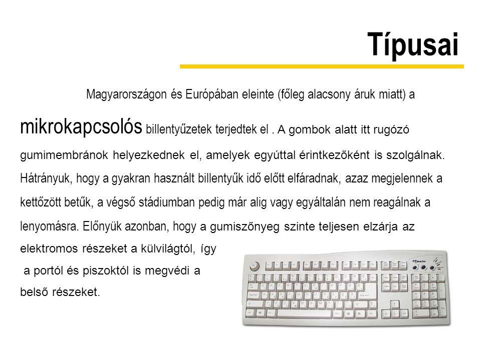 Típusai Magyarországon és Európában eleinte (főleg alacsony áruk miatt) a mikrokapcsolós billentyűzetek terjedtek el. A gombok alatt itt rugózó gumime