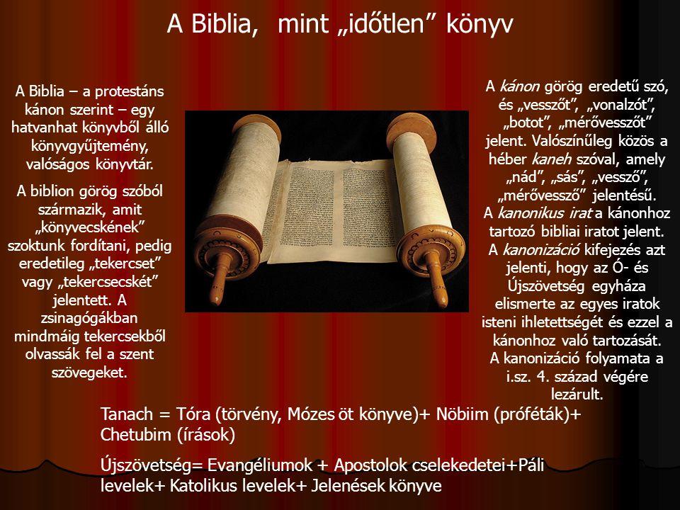 """A Biblia, mint """"időtlen"""" könyv A Biblia – a protestáns kánon szerint – egy hatvanhat könyvből álló könyvgyűjtemény, valóságos könyvtár. A biblion görö"""