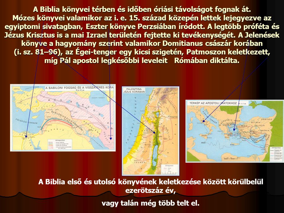 A Biblia könyvei térben és időben óriási távolságot fognak át. Mózes könyvei valamikor az i. e. 15. század közepén lettek lejegyezve az egyiptomi siva