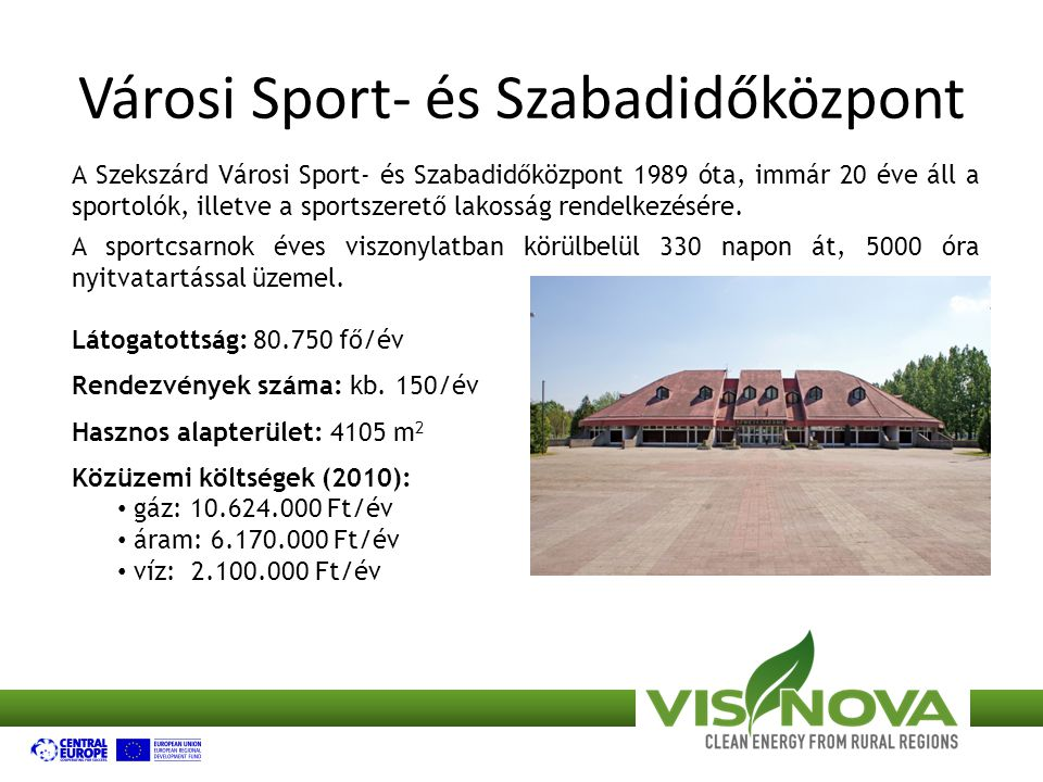 Városi Sport- és Szabadidőközpont A Szekszárd Városi Sport- és Szabadidőközpont 1989 óta, immár 20 éve áll a sportolók, illetve a sportszerető lakosság rendelkezésére.