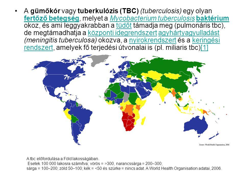 •A gümőkór vagy tuberkulózis (TBC) (tuberculosis) egy olyan fertőző betegség, melyet a Mycobacterium tuberculosis baktérium okoz, és ami leggyakrabban a tüdőt támadja meg (pulmonáris tbc), de megtámadhatja a központi idegrendszert agyhártyagyulladást (meningitis tuberculosa) okozva, a nyirokrendszert és a keringési rendszert, amelyek fő terjedési útvonalai is (pl.