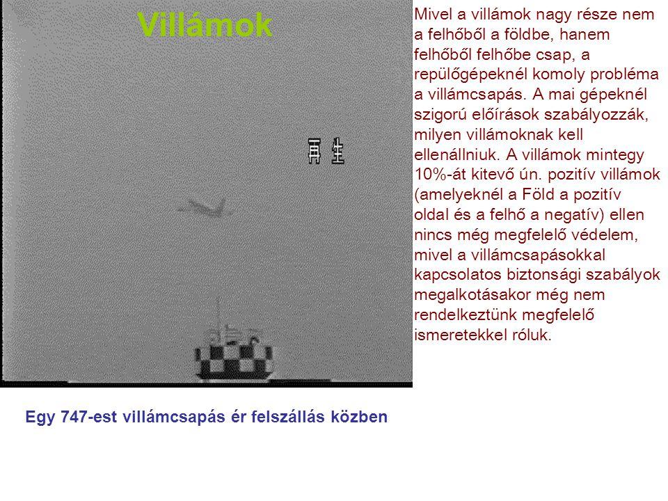Villámok Mivel a villámok nagy része nem a felhőből a földbe, hanem felhőből felhőbe csap, a repülőgépeknél komoly probléma a villámcsapás. A mai gépe