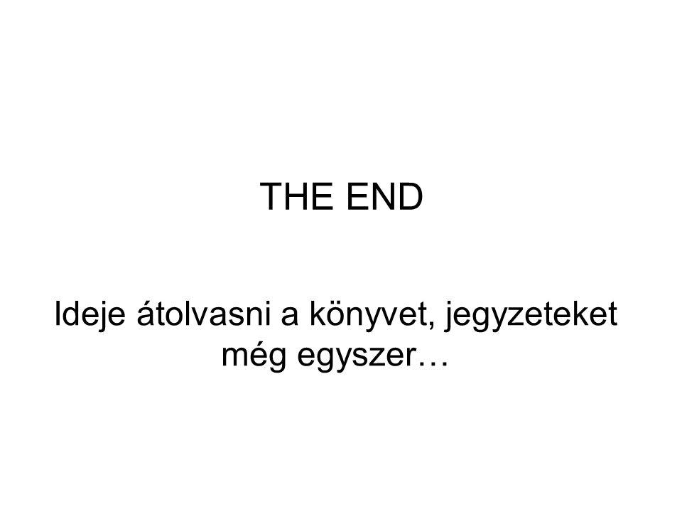 THE END Ideje átolvasni a könyvet, jegyzeteket még egyszer…