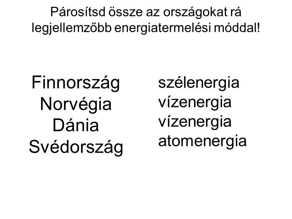 Párosítsd össze az országokat rá legjellemzőbb energiatermelési móddal! Finnország Norvégia Dánia Svédország szélenergia vízenergia atomenergia