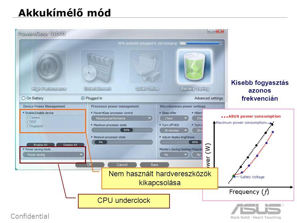12 Confidential Akkukímélő mód Kisebb fogyasztás azonos frekvencián Nem használt hardvereszközök kikapcsolása CPU underclock