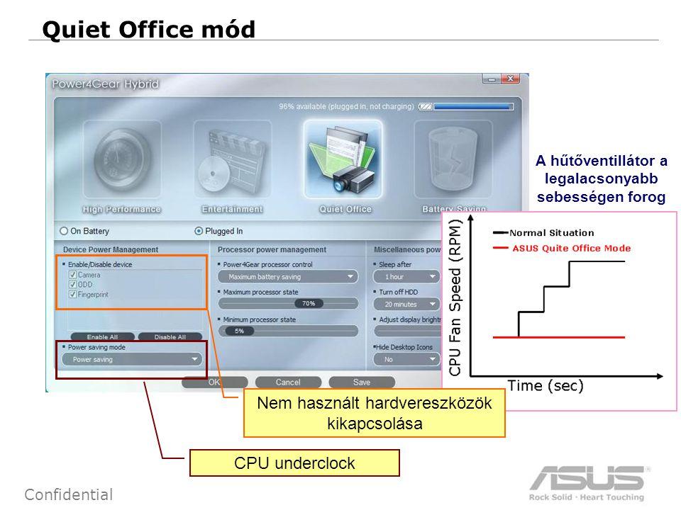 14 Confidential Quiet Office mód A hűtőventillátor a legalacsonyabb sebességen forog Nem használt hardvereszközök kikapcsolása CPU underclock