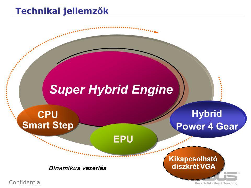 5 Confidential Super Hybrid Engine CPU Smart Step CPU Smart Step Kikapcsolható diszkrét VGA Kikapcsolható diszkrét VGA Dinamikus vezérlés Technikai jellemzők EPU Hybrid Power 4 Gear