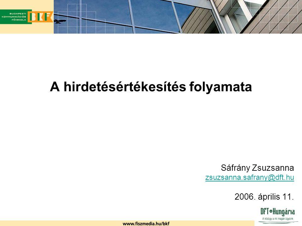 A hirdetésértékesítés folyamata Sáfrány Zsuzsanna zsuzsanna.safrany@dft.hu 2006. április 11.