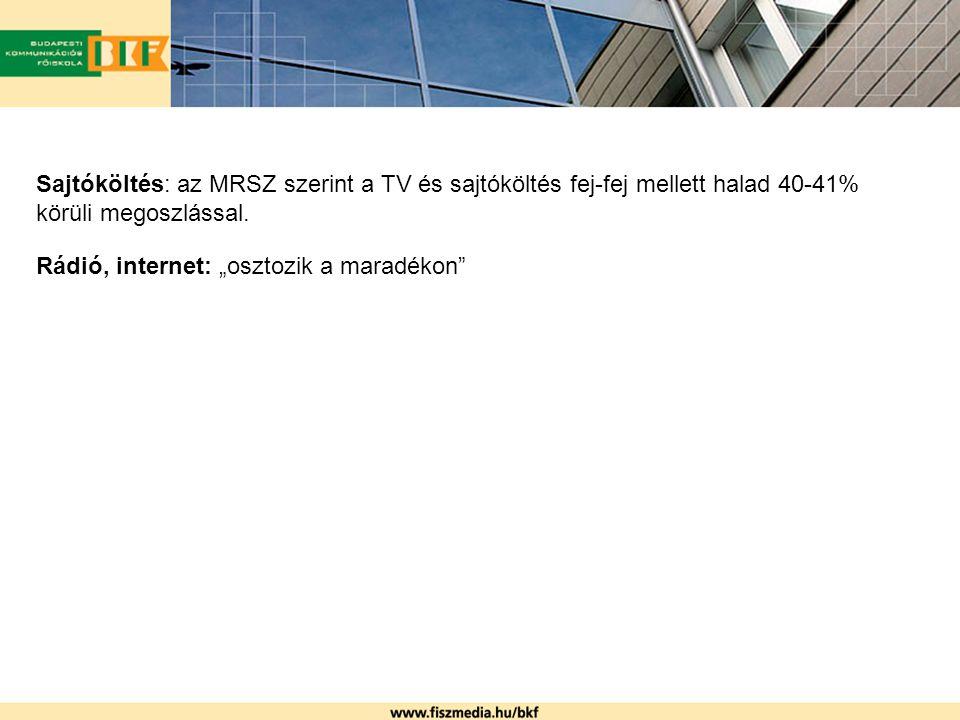 A TNS Media Intelligence szerint: 2005-ben a reklámköltés a főbb médiumtípusokban (kivéve outdoor): - 66% TV - 21% sajtó - 5% rádió - 1% Internet (Internet: 2004-hez képest 21%-kal magasabb reklámbevételt mértek)