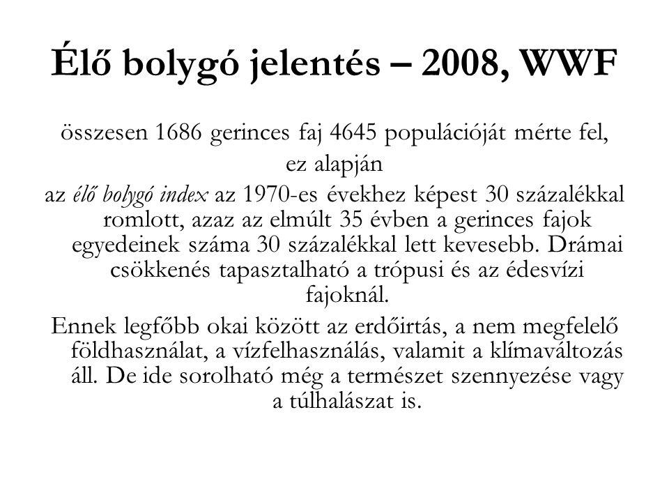 Élő bolygó jelentés – 2008, WWF összesen 1686 gerinces faj 4645 populációját mérte fel, ez alapján az élő bolygó index az 1970-es évekhez képest 30 sz