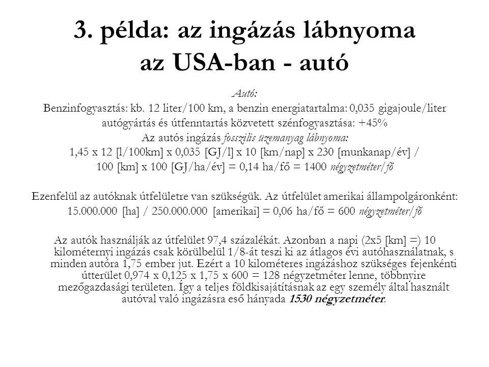3. példa: az ingázás lábnyoma az USA-ban - autó Autó: Benzinfogyasztás: kb. 12 liter/100 km, a benzin energiatartalma: 0,035 gigajoule/liter autógyárt