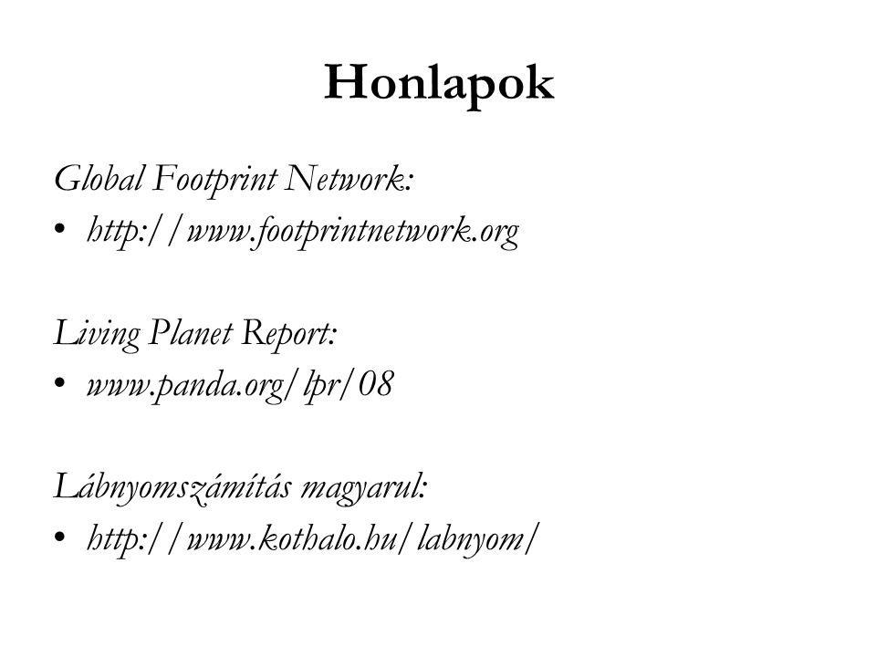 Honlapok Global Footprint Network: •http://www.footprintnetwork.org Living Planet Report: •www.panda.org/lpr/08 Lábnyomszámítás magyarul: •http://www.