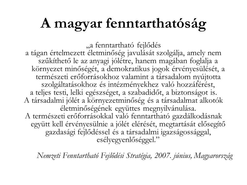 """A magyar fenntarthatóság """"a fenntartható fejlődés a tágan értelmezett életminőség javulását szolgálja, amely nem szűkíthető le az anyagi jólétre, hane"""