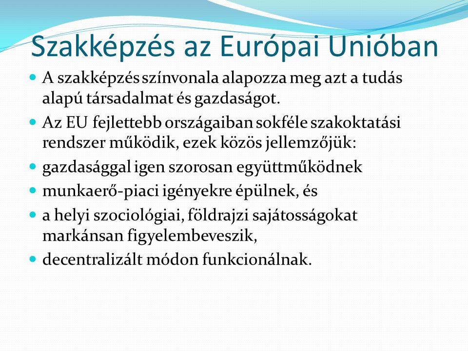 Szakképzés az Európai Unióban  A szakképzés színvonala alapozza meg azt a tudás alapú társadalmat és gazdaságot.  Az EU fejlettebb országaiban sokfé