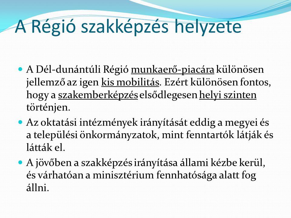 A Régió szakképzés helyzete  A Dél-dunántúli Régió munkaerő-piacára különösen jellemző az igen kis mobilitás. Ezért különösen fontos, hogy a szakembe