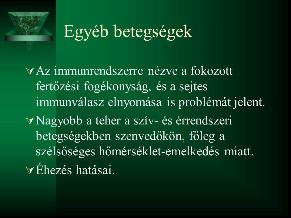 Egyéb betegségek  Az immunrendszerre nézve a fokozott fertőzési fogékonyság, és a sejtes immunválasz elnyomása is problémát jelent.  Nagyobb a teher