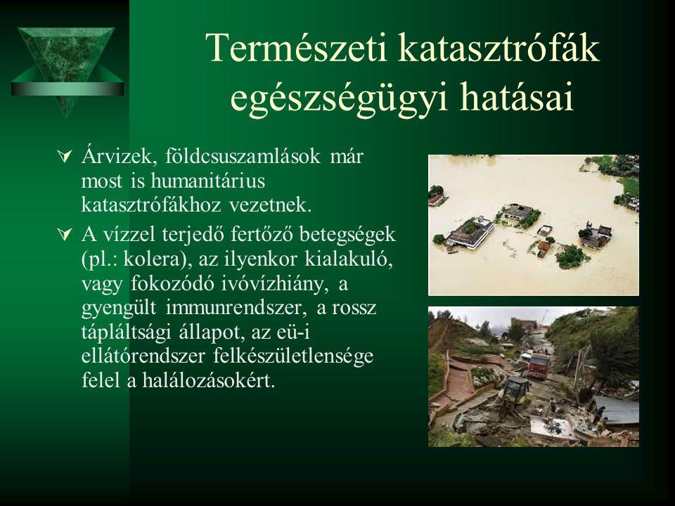 Természeti katasztrófák egészségügyi hatásai  Árvizek, földcsuszamlások már most is humanitárius katasztrófákhoz vezetnek.  A vízzel terjedő fertőző