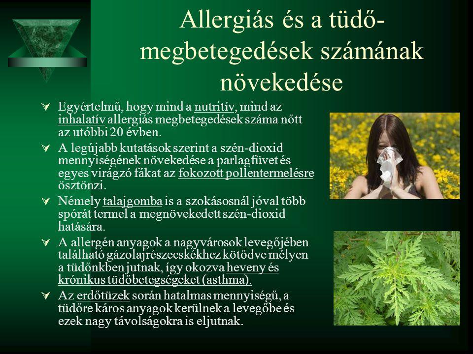 Allergiás és a tüdő- megbetegedések számának növekedése  Egyértelmű, hogy mind a nutritív, mind az inhalatív allergiás megbetegedések száma nőtt az u