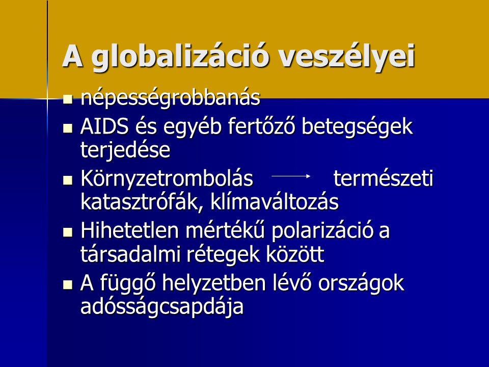 A globalizáció veszélyei  népességrobbanás  AIDS és egyéb fertőző betegségek terjedése  Környzetrombolás természeti katasztrófák, klímaváltozás  H