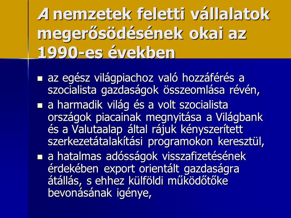 A nemzetek feletti vállalatok megerősödésének okai az 1990-es években  az egész világpiachoz való hozzáférés a szocialista gazdaságok összeomlása rév