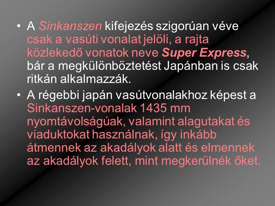 •A Sinkanszen kifejezés szigorúan véve csak a vasúti vonalat jelöli, a rajta közlekedő vonatok neve Super Express, bár a megkülönböztetést Japánban is