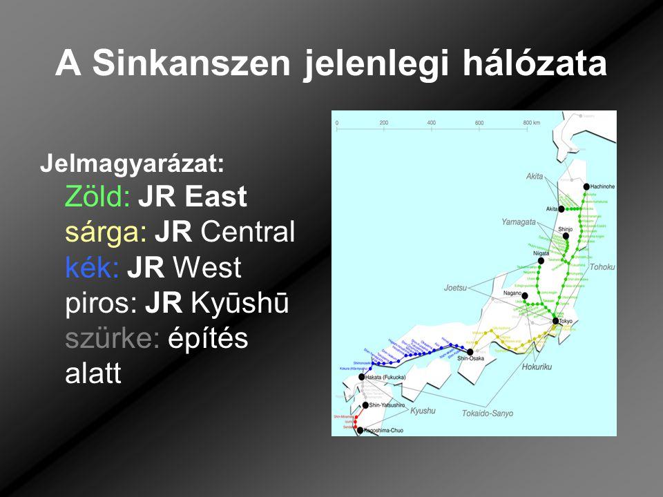 A Sinkanszen jelenlegi hálózata Jelmagyarázat: Zöld: JR East sárga: JR Central kék: JR West piros: JR Kyūshū szürke: építés alatt
