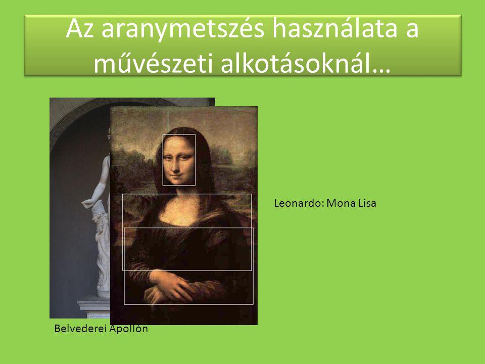 Az aranymetszés használata a művészeti alkotásoknál… Leonardo: Mona Lisa Belvederei Apollón