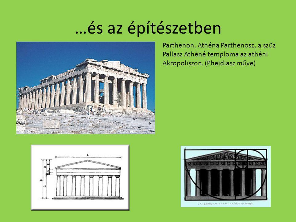 …és az építészetben Parthenon, Athéna Parthenosz, a szűz Pallasz Athéné temploma az athéni Akropoliszon. (Pheidiasz műve)