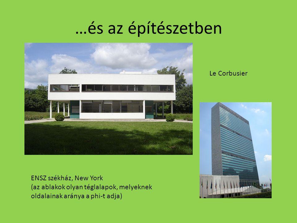 …és az építészetben ENSZ székház, New York (az ablakok olyan téglalapok, melyeknek oldalainak aránya a phi-t adja) Le Corbusier