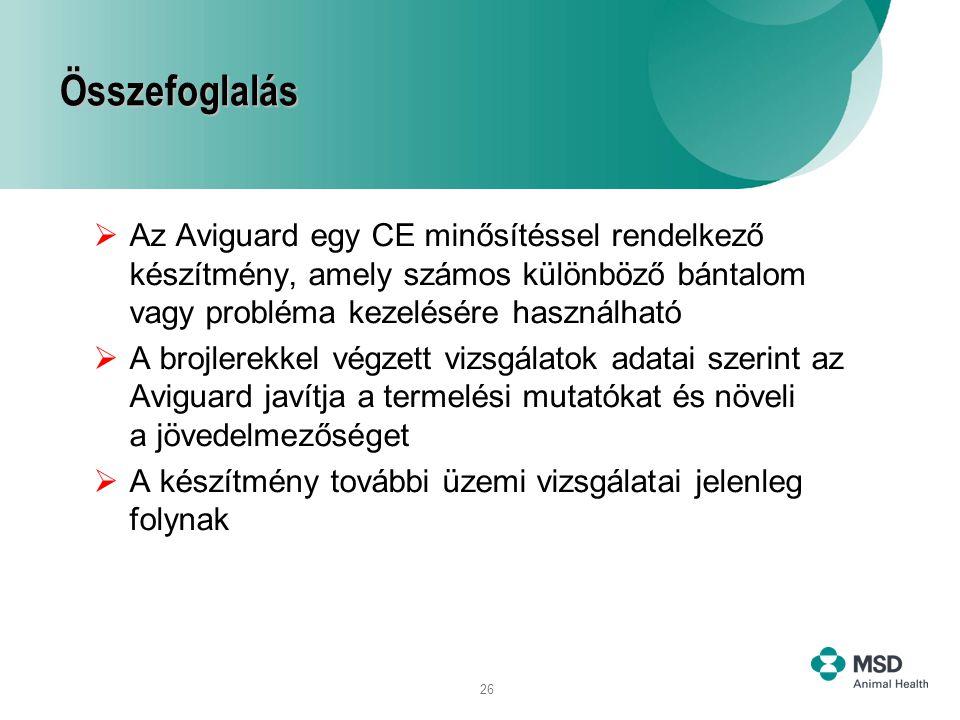 26 Összefoglalás  Az Aviguard egy CE minősítéssel rendelkező készítmény, amely számos különböző bántalom vagy probléma kezelésére használható  A bro