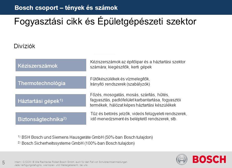 5 Bosch csoport – tények és számok Fogyasztási cikk és Épületgépészeti szektor Kéziszerszámok Kéziszerszámok az építőipar és a háztartási szektor szám