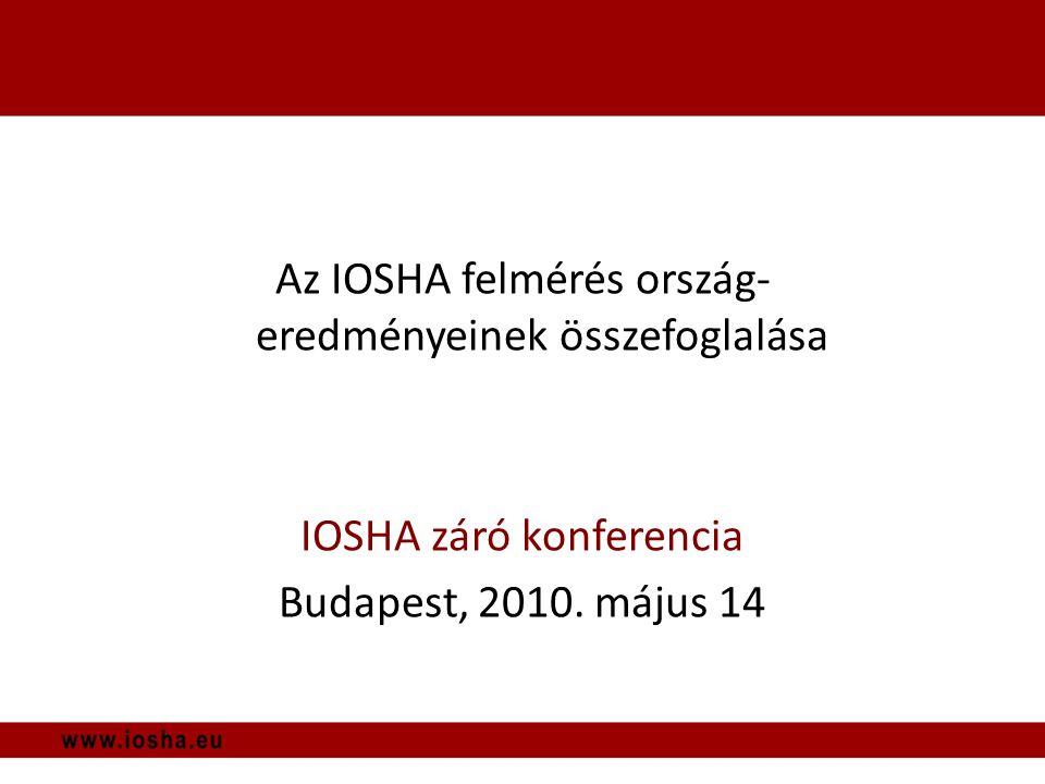 Az IOSHA felmérés ország- eredményeinek összefoglalása IOSHA záró konferencia Budapest, 2010.