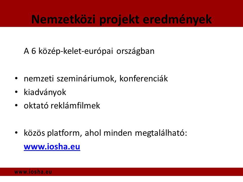 Nemzetközi projekt eredmények A 6 közép-kelet-európai országban • nemzeti szemináriumok, konferenciák • kiadványok • oktató reklámfilmek • közös platform, ahol minden megtalálható: www.iosha.eu