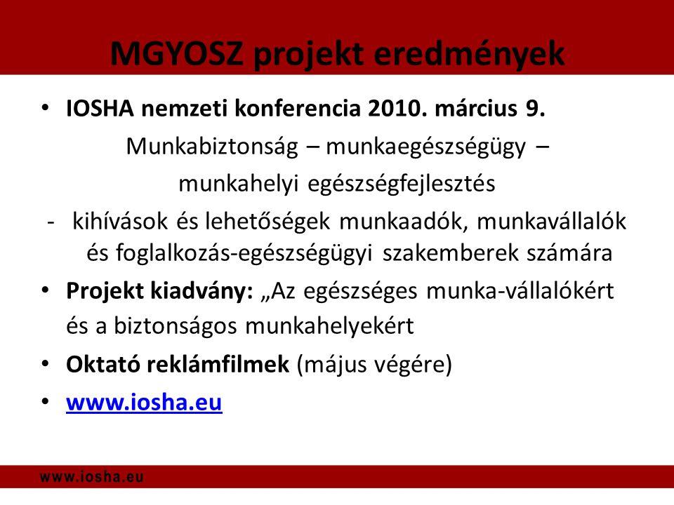 MGYOSZ projekt eredmények • IOSHA nemzeti konferencia 2010.