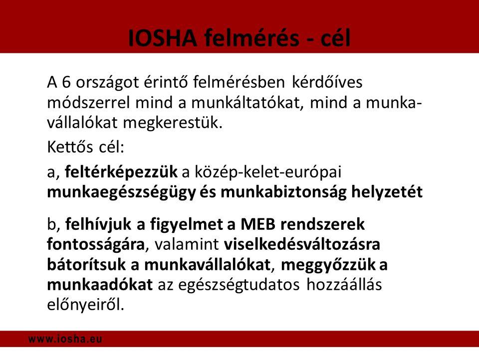 IOSHA felmérés - cél A 6 országot érintő felmérésben kérdőíves módszerrel mind a munkáltatókat, mind a munka- vállalókat megkerestük.