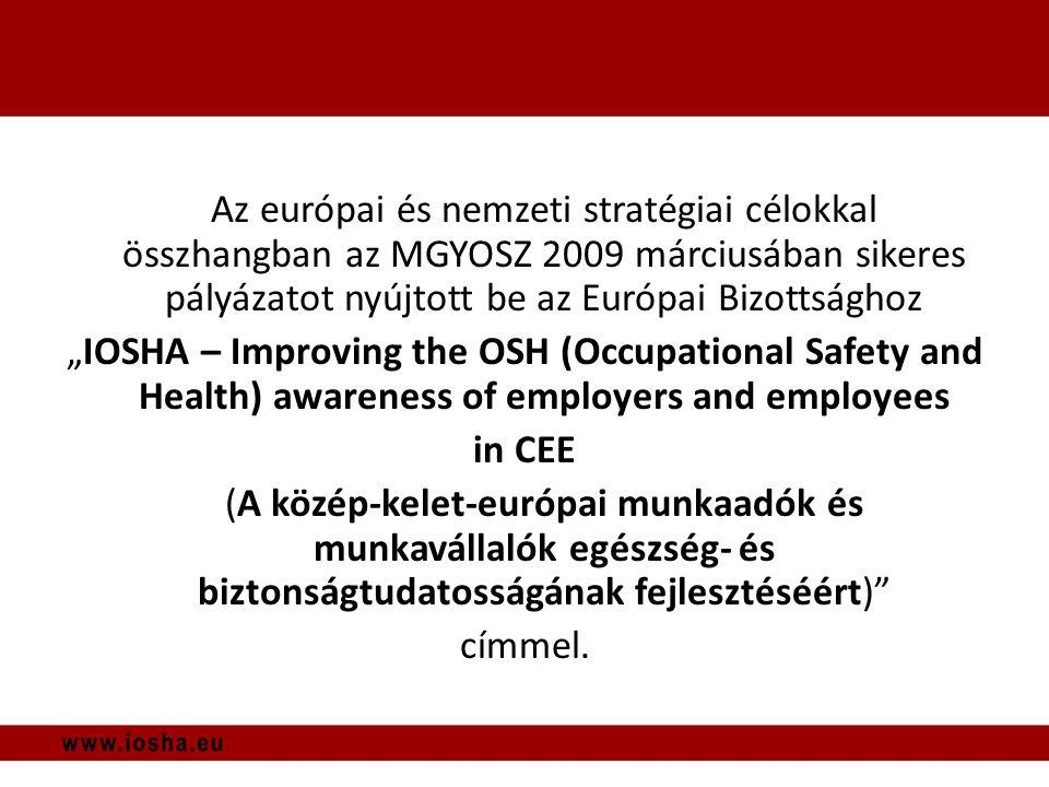 """Az európai és nemzeti stratégiai célokkal összhangban az MGYOSZ 2009 márciusában sikeres pályázatot nyújtott be az Európai Bizottsághoz """"IOSHA – Improving the OSH (Occupational Safety and Health) awareness of employers and employees in CEE (A közép-kelet-európai munkaadók és munkavállalók egészség- és biztonságtudatosságának fejlesztéséért) címmel."""