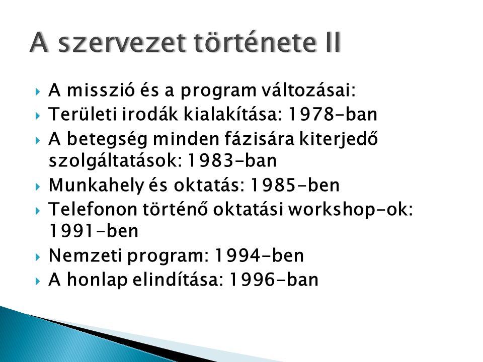  A misszió és a program változásai:  Területi irodák kialakítása: 1978-ban  A betegség minden fázisára kiterjedő szolgáltatások: 1983-ban  Munkahely és oktatás: 1985-ben  Telefonon történő oktatási workshop-ok: 1991-ben  Nemzeti program: 1994-ben  A honlap elindítása: 1996-ban